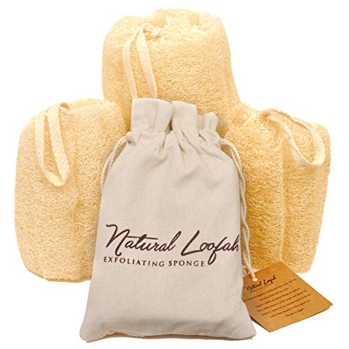 Set of 3 Egyptian Loofah 100% Natural SPA Beauty Bath Sponge Body Puff Scrubber. Premium Quality Lofa Loofa Luffa Loffa for exfoliating Your Skin