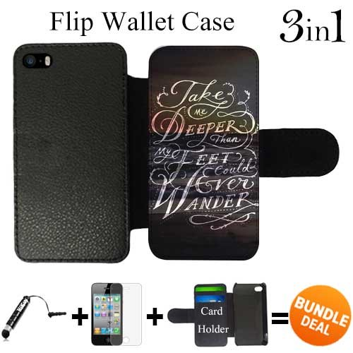 Christian Verses Take Me Deeper Custom iPhone SE Flip Wallet Case,Bundle 3in1 Comes with Screen Protector/Universal Stylus Pen by innosub
