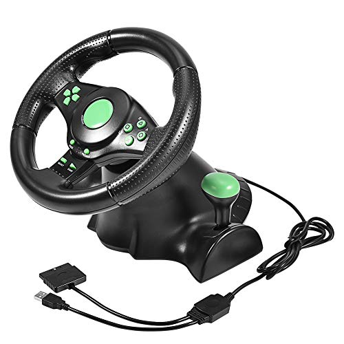 Gaming Racing Wheel Controller Steering Wheel Pedals with 180 Degree Steering Rotation for Xbox 360/ PS2/ PS3/ PC (For Ps2 Racing)