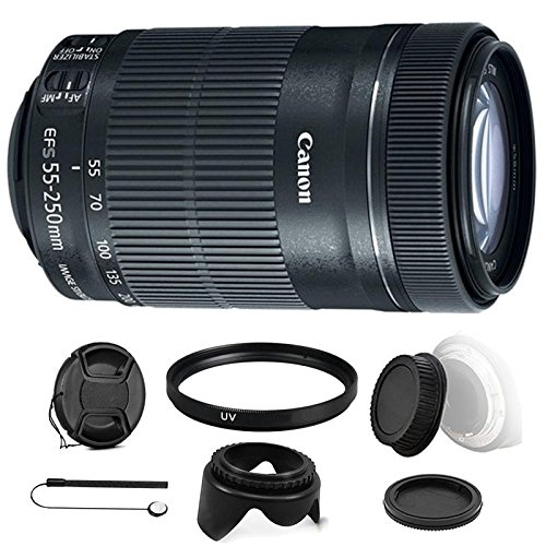 Canon EF-S 55-250mm F4-5.6 IS STM Lens with Ultimate Accessory Bundle for Canon EOS Rebel T6s , T6i , T5i , T4i and SL1