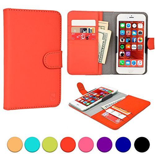 Archos 45 Helium 4G / 45c Platinum phone case, COOPER SLIDER Mobile Cell Phone Wallet Protective Case Cover Casing with Open Camera & Credit Card Holder for Archos 45 Helium 4G / 45c Platinum (Red)
