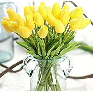 Artificial Flowers Real Touch PU Mini Tulips Artificial Plants for Wedding Bouquet Living Room Home Hotel Party Christmas Decoration and Holiday, Vase Not Included 2