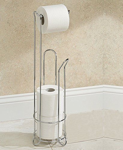 Stainless Steel Chrome Wire Frame Free Standing Bathroom Toilet Paper Roll Holder with 3 Rolls Storage by Crystals®