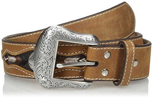 Nocona Men's Buffalo Concho Inlay, Medium Brown, 38 (Nocona Concho)