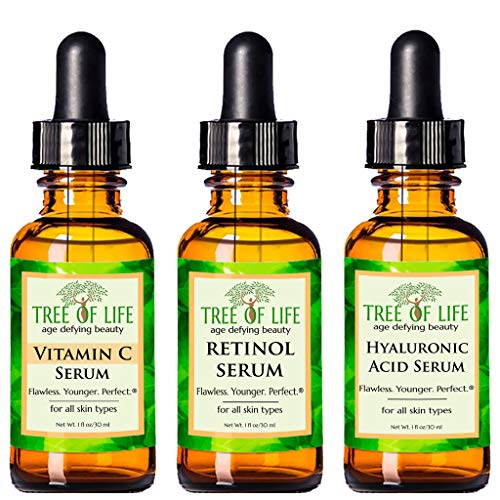 Anti Aging Serum 3-Pack for Face - Vitamin C Serum, Retinol Serum, Hyaluronic Acid Serum - Face Serum Full Regimen (Best Over The Counter Retinol Treatment)
