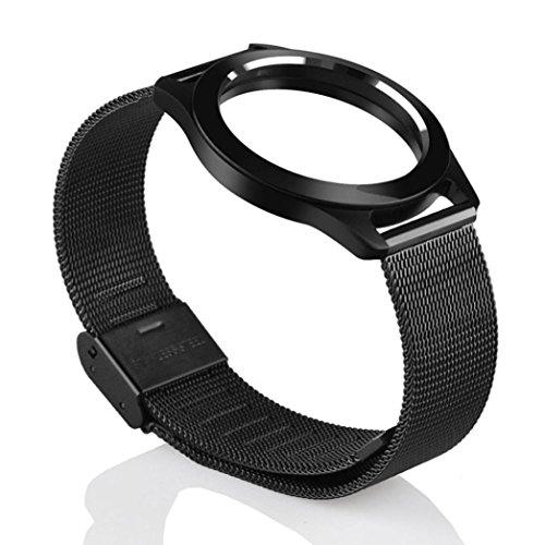 Steel Wristband Bracelet Strap Fitness Monitor Black - 8