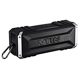Vtin 20W Bluetooth Speakers, V5.0 Portable Bluetooth Speaker with TWS, 30H Long Playtime, Loud Stereo Sound, IPX6 Waterproof Speaker, Detachable Hook, Wireless Speaker for home, Backyard, Pool, Party 6 20W LOUND STEREO SOUND: Vtin Bluetooth Speaker delivers crisp and clear sound with impressive volume by20W drivers and unique enhanced bass, can transmit up to 2000 square foot; Super bass booms with less than 1% total harmonic distortion even at max volume. 30H WORRYFREE BATERRY LIFE: Never worry about a long journey. Built-in 4400mAh rechargeable battery guarantees up to 30 hours non-stop playtime at 50% volume. Enjoy your music over 1 week for a average of 4 hours a day on a single charge STABLE & EFFECTIVE CONNECTIVITY: Bluetooth 5.0 ensures fast instant pairing and maintains a solid connection 33 feet away. The speaker automatically reconnects to the last used device and connects to the device in just 3 seconds.