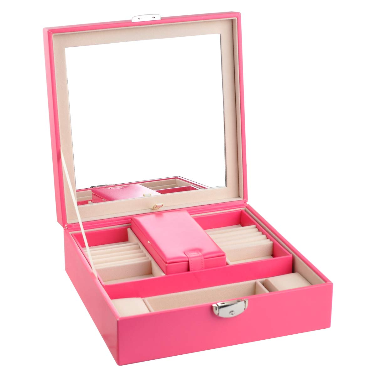 Rose Red NirongLavie Womens Jewelry Box Leather Square-Shaped Lockable Jewelry Storage Organizer Case with Mirror /& A Mini Travel Jewellery Case