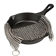 #LightningDeal 82% claimed: LauKingdom Cast Iron Cleaner - XXL 8x8 More Efficient Stainless Steel Chainmail Scrubber