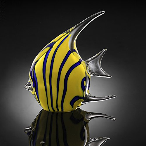SPI Home Art Glass Yellow Angel (Angel Fish Sculpture)