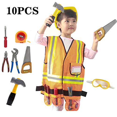 Mizzuco Worker Role Play Costume Set Construction Worker Dress up Toy Kit with Tools for Kids(10PCS) for $<!--$22.54-->