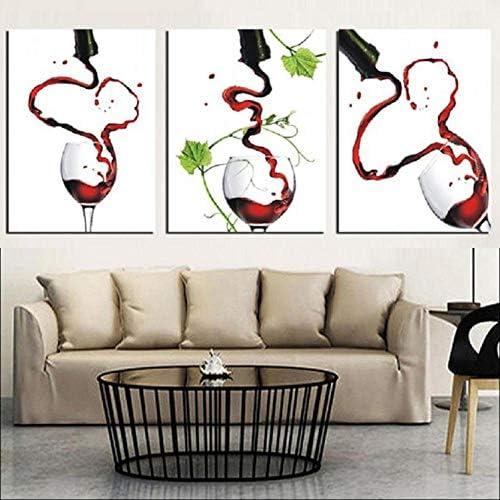 キャンバス絵画壁アートワークポスター写真赤ワイングラスプリント現代家の装飾リビングルーム-40×50センチ×3ピースフレームなし