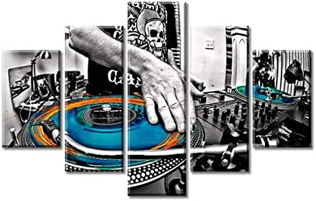 Music Wall Art Canvas Decor Black and White Dj Poster Artwork Decoration Multi Panel Painting Prints on Livingroom Bedroom Stretched Framed Ready to Hang