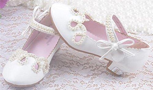 SMITHROAD Mädchen Prinzessin Schuhe Perlen Sandale Kinder Halbschuhe Hochzeit Kostüm Ballerinas Absatz Gr. 24 bis 35 Weiß