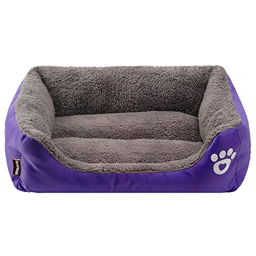 Purple Cat Bed - Spring fever Ultra-Soft Paw Print Pet Water Resistant Rectangle Orthopedic Snuggle Dog Cat Warm Pet Bed F Purple S (17.311.84.7 inch)