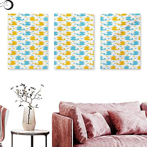 Mannwarehouse Rubber Duck Landscape Canvas Baby Ducklings Pattern with Little Hearts Love Animals Print Nursery Room Triptych Wall Art Blue and Yellow W 20