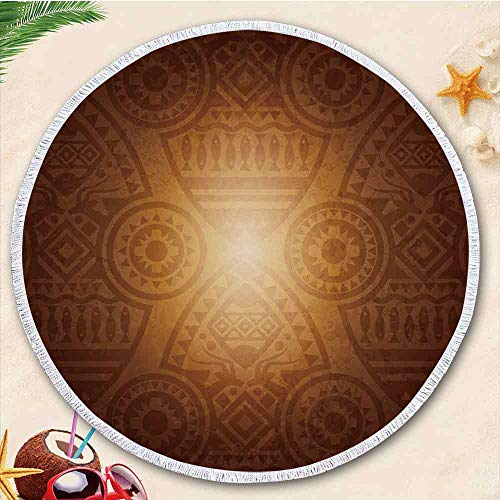 YOLIYANA Tan Thick Round Beach Towel Blanket Terry Beach Roundie Circle Carpet Yoga Mat with Tassel for Women Two,High Color fastness ()