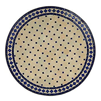 Table Mosaïque marocaine rondezellige Bleu90 cm: Amazon.fr: Jardin
