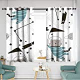 Thermal Insulated Blackout Curtains W 63'xL 63' Seamless childish pattern with cute cats astronauts Creative nursery background Perfect for kids design fabric wrapping wallpaper textile apparel