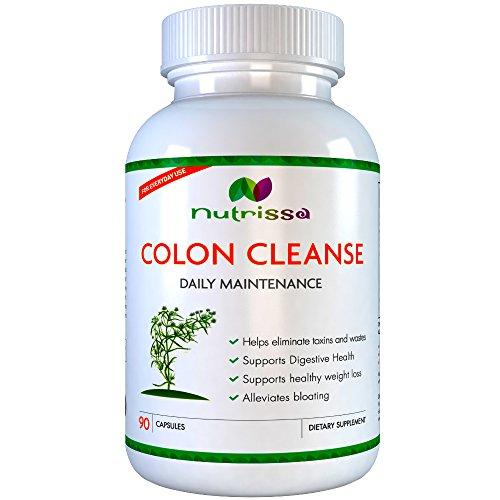 Colon Cleanse Entretien quotidien par NUTRISSA (90 capsules) - puissance maximale 2250 mg - élimine les toxines et déchets du tractus intestinal - Formulé pour réduire les ballonnements, augmenter la perte de poids et de promouvoir les selles régulières -