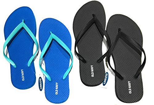 Old Navy Flip Flop Sandals for Woman, Great for Beach or Casual Wear (10, Cobalt and Black)
