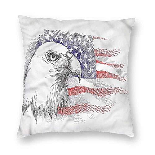 Mannwarehouse 4th of July Creative Pillowcase Bald Eagle Portrait Without coreW16 x L16