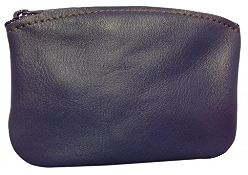 North Star Men's Large Leather Zippered Coin Pouch Change Holder 5 X 3.5 X 0.25 Inches Purple