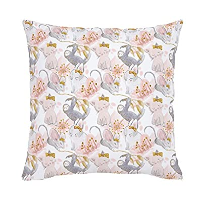 Carousel Designs Pink And Gray Sloth Throw Pillow 18-Inch Square Size With Pillow Insert - Organic 100% Cotton Throw Pillow Cover + Insert - Made In The Usa - Carousel Designs