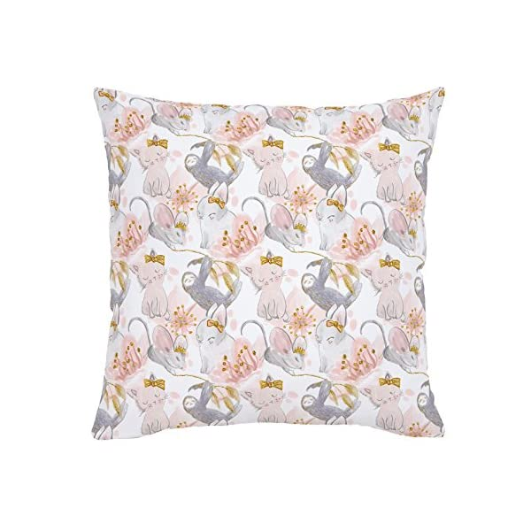 Carousel Designs Pink And Gray Sloth Throw Pillow 18-Inch Square Size With Pillow Insert - Organic 100% Cotton Throw Pillow Cover + Insert - Made In The Usa -