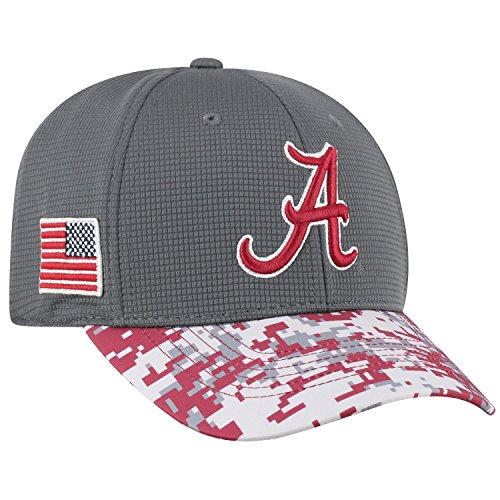 Top of the World NCAA Salute to USA Military -One-Fit Camo Hat Cap-Alabama Crimson (Crimson Ncaa Hat)