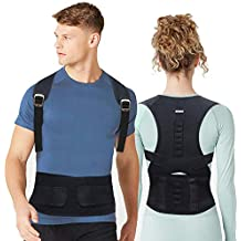 EPROSMIN Back Brace Posture Corrector |Fully Adjustable Support Brace for Men and Women|Improves Posture and Provides Lumbar Back Brace| Lower and Upper Back Pain Relief (M) (Large)