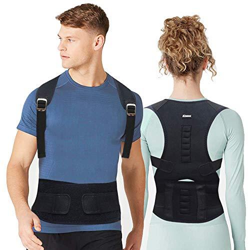 EPROSMIN Back Brace Posture Corrector  Fully Adjustable Support Brace for Men and Women Improves Posture and Provides Lumbar Back Brace  Lower and Upper Back Pain Relief (L(28