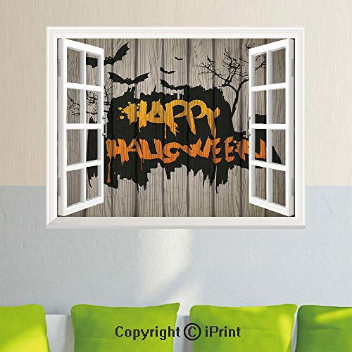 Open Window Wall Decal Sticker,Halloween Decorations,Happy Graffiti Style Lettering on Rustic Wooden Fence Scary Evil Artwork,Multi,26.6x20inch,Removable Wall -