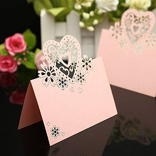 (Worldoor 50pcs Wedding Party Table Name Place Cards Favor Decor Love Heart Laser Cut Design (Pink))