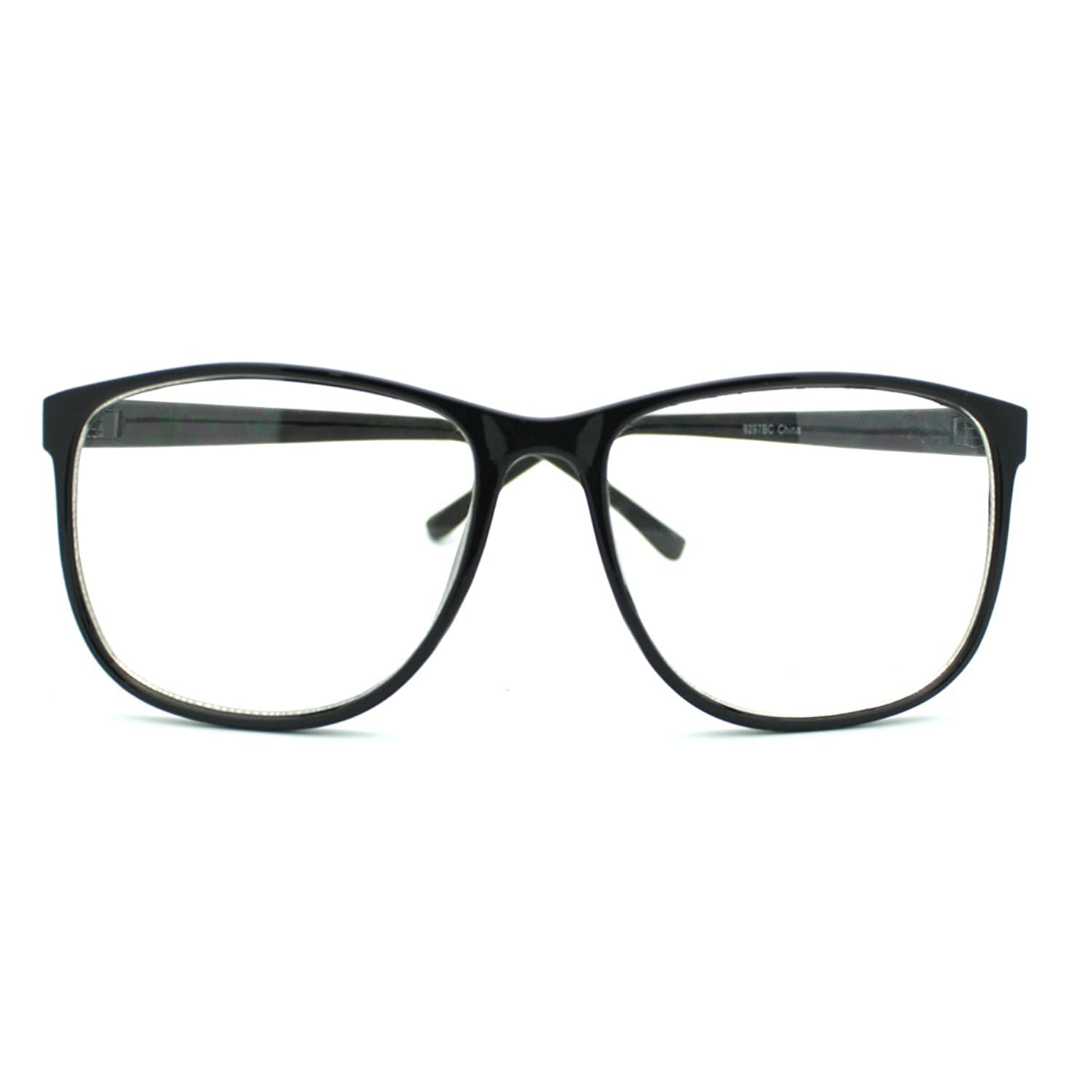 black large nerdy thin plastic frame clear lens eye glasses frame amazoncouk clothing