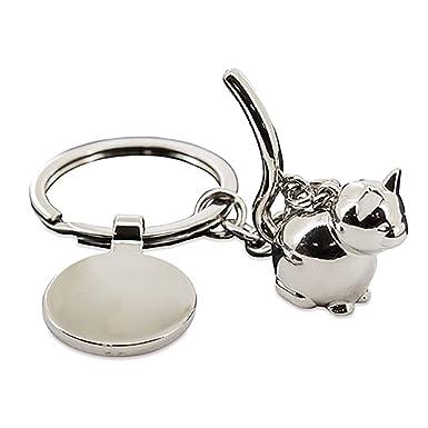 PromoGift Llavero Metalico con Forma de Gato Gatito metálico para Carro de la Compra supermercado: Amazon.es: Ropa y accesorios