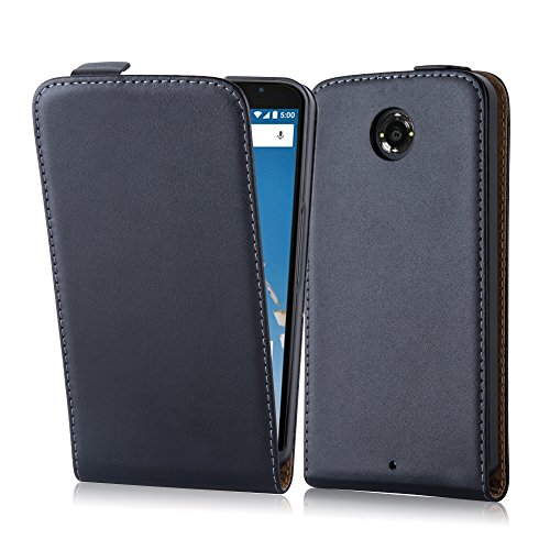 Cadorabo Case Works with Lenovo (Motorola) Nexus 6 in Caviar Black (Design FLIP Smooth) – with 2 Card Slots – Case Etui Cover Pouch PU Leather Flip