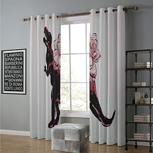 Jinguizi Blackout Curtain for Teenagers Bedroom 120 by 108 Inch Crow,Halloween Evening Silhouette Illustration Scary Landscape Broom Spider Web and Trees,Multicolor