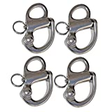 """Set of 4 of 2"""" Fixed Bail Snap Shackle for Bracelet, Sailboat –Stainless Steel(BC 0441)"""