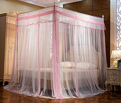 JQWUPUP Elegant Canopy Bed Curtains, Ruffle Princess 4 Corner Post Mosquito Net, Bed Canopy for Girls Kids Toddlers Crib, Bedding Décor (Full, Pink) ()