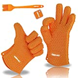 WISH4U Silicone BBQ /Cooking & Baking Gloves Non-Slip Potholders -Internal finger thicken heat resistant layer Oven Mitts for Grilling, Kitchen–Safe Handling of Pots & Pans –Basting & Pastry Brush