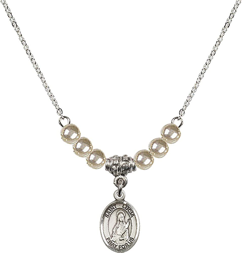 18-Inch Rhodium Plated Necklace with 4mm Faux-Pearl Beads and Sterling Silver Saint Lucia of Syracuse Charm.