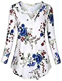 Cestyle Keyhole Tunic, Womens Long Sleeve Floral Pattern Blouse Ladies V Neck Choker Flare Round Hem Shirt Feminine Cute and Flattering Sexy Tops White Blue Flower Large