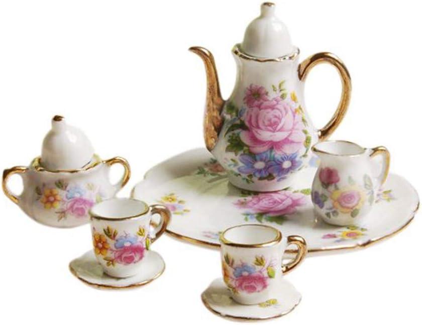 Rucan 8pcs Dining Ware Porcelain Tea Set Pink Dish Cup Plate 1/6 Dollhouse Miniature