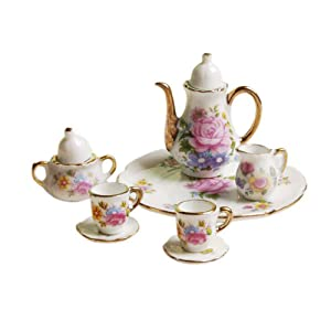 SXFSE Dollhouse Decoration Kitchen Accessories, 8pcs Dining Ware Porcelain Tea Cup Set Pink Dish Cup Plate with Golden Trim 1/6 Dollhouse Miniature