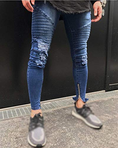 Pantaloni Biker Pants Zipper Denim Stretch Blau Uomo Da Slim Pencil Ragazzo Casual Fashion Destroyed Jeans Fit Retro 55nrwq0AxH