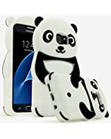 Samsung Galaxy S7,Bastex Black and White Silicone Panda Character Case Cover for Samsung Galaxy S7