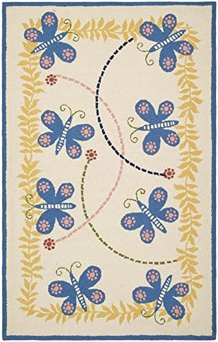 Safavieh Safavieh Kids Collection SFK390A Handmade Ivory and Blue Cotton Area Rug 6 x 9