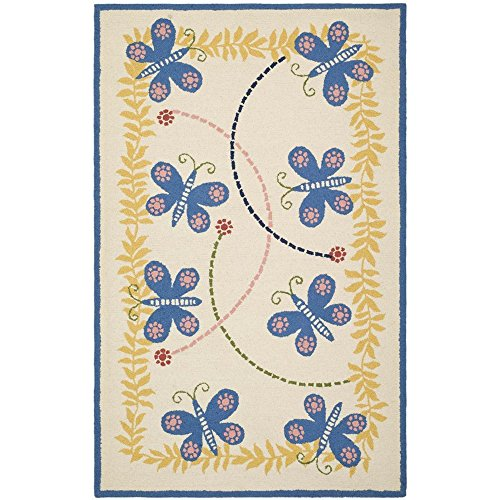 Safavieh Kids Collection SFK390A Handmade Ivory and Blue Cotton Area Rug (5′ x 8′)