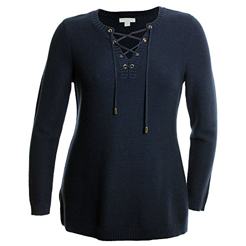 Cardigan Collar Tunic (Charter Club Womens Lace Up Collar Long Sleeves Tunic Sweater Navy 1X)